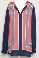 M&S Navy Blue Red White Long Sleeve Boho Loose Floaty Oversize Tunic Top Size 14