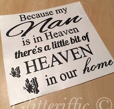NAN IN HEAVEN IN OUR HOME VINYL DECAL STICKER FOR IKEA RIBBA BOXFRAME DIY GIFT