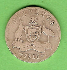 1916  AUSTRALIAN STERLING SILVER SIXPENCE COIN