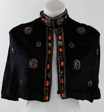 NWT Anna Sui Black Velvet Open Front Cape with Red/Pink/Orange Gems Size Small