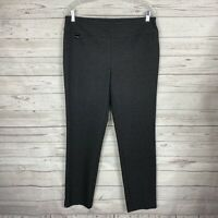 Lisette Montreal Womens Slim Straight Leg Pants Sz 12 Gray Black Pull-On