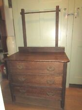 Antique Childs Small Oak Raised Panel Dresser Dry Sink Vanity 3 Drawer