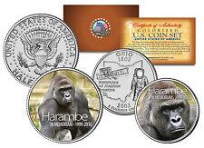 HARAMBE Cincinnati Zoo Gorilla U.S. 2-Coin Set w/ Ohio State Quater & 2016 JFK