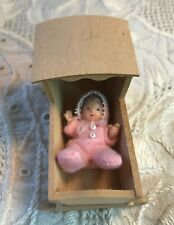 dollhouse miniature unpainted wooden cradle with baby doll