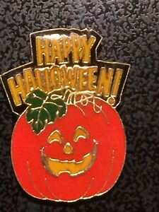 Happy Halloween Orange Pumpkin Button Cover Vintage Clothing Decor Festive Wear