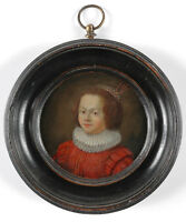 """Portrait of a Dutch lady"" oil on copper miniature, early 17th century"