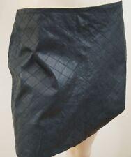 ALICE & OLIVIA Brigitta Black Cows Leather Quilted Short Mini Skirt US8; UK12