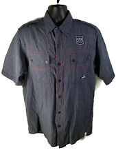 AKADEMIKS Mens Blue Plaid Casual Button Front Shirt Embroidered - L (TAG XL)