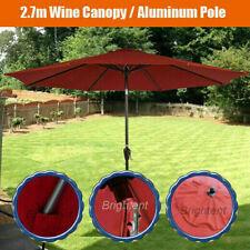 More details for 2.7m patio parasol garden umbrella aluminum pole crank tilt wine canopy dw27r