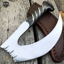 Hand Forged Railroad Spike Carbon Hunting Gut Hook Claw Knife Fixed Blade + Case
