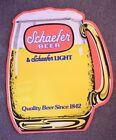 "Schaefer Beer & Light Beer Paper Sign Die Cut Mug 1989 24"" High by 21"" Wide"