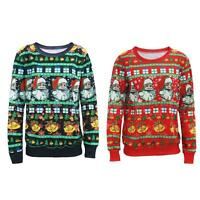 UNISEX WOMENS XMAS CHRISTMAS NOVELTY VINTAGE 70'S JUMPER RETRO KNITTED SWEATER