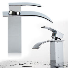 Waterfall Basin Sink Tap WOW Square Mixer Chrome Mono  Luxury Bathroom Cloakroom