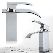 Waterfall Basin Sink Tap WOW Square Mixer Chrome Mono Luxury Bathroom Wniu