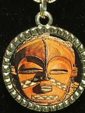 "Tribal Indian African Mask Checkered Charm Tibetan Silver with 18"" Necklace AM3"