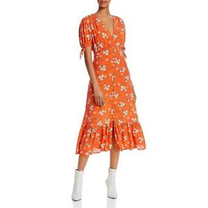 Ghost London Womens Orange Floral V-Neck Casual Midi Dress XS BHFO 3537