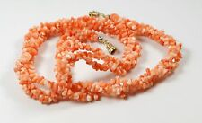 "Coral Nugget Chip Bead Twisted Multi Strand Torsade 18"" Necklace"