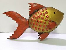 """Gold Fish Recycled Metal Steel Drum Wall Art 14"""" Long x 9"""" Tall"""