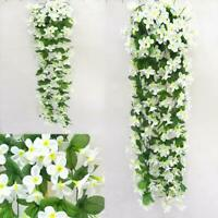 1/4PCS Artificial Violet Orchid Flowers Patio Wall Rattan Basket Floral Fantasy