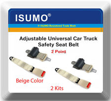 2 Kits Adjustable Universal Car Truck 2 Point Beige Seat Belt Lap Safety Belt