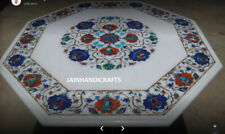 2' white marble table top coffee dining inlay lapis mosaic handmade J126