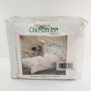 Country Inn by Stevens Flannel Full Bed 4 pc Set Floral Heart Pink Cotton NOS