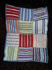 Pottery Barn Kids Quilted Stripes Patchwork Standard Pillow Sham Blue Backing