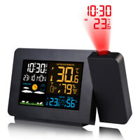 LED Digital Projection LCD Display Alarm Clock with Temperature Weather Station