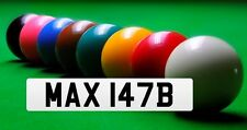 Private Cherished Number Plate MAX 147B RILEY SNOOKER TABLE TREVOR WHITE CUE 147