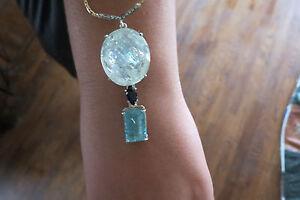 Estate Santa Maria 53.50 carat Aquamarine, Sapphire & Diamond 14k gold necklace