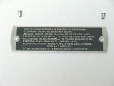 Classic Mini MG Morris Austin rocker cover Alliage brevet plaque plaque avec rivets