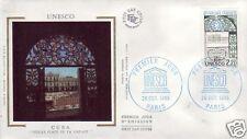 S89+ FDC ENVELOPPE 1er JOUR  SUR SOIE UNESCO