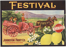 *Original* Festival Horse Cart Parade Santa Barbara Lemon Crate Label Not A Copy
