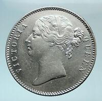 1840 BRITISH INDIA UK COLONY Queen Victoria Genuine Silver RUPEE Coin i78574