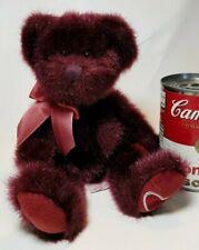 "Russ Minx Burgundy Plush Stuffed Teddy Bear Animal Heart on Foot 10"""