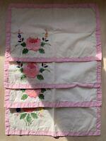 Vintage Placemats Embroidered Floral Appliqué