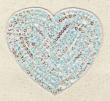 """Iron-On Applique/Embroidered Patch - Valentines Sequin Heart - SILVER - XL 4"""""""