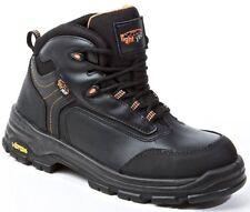 Stivali di sicurezza, in metallo leggero libero anno, in pelle Scarpe di sicurezza, S3 HRO SRC Nero UK 5