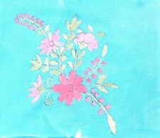 1 PCS NEW HANDMADE TOWEL HANDING BLUE NAPKINS COTTON CLOTH PINK FLOWERS 16.5 in