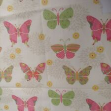"""New listing Vintage Butterfly Fabric Remnant Ivory Pink Green Floral 34x23-31"""" Masks Crafts"""