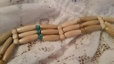 VINTAGE Tan & Turquoise WOODEN BEAD WOMENS CORD TIE BELT ~ Hippie Style