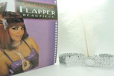 Ladies 20s Sequin Charleston Feather Headband Flapper Fancy Dress Accessories Silver