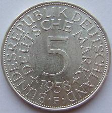 RARITÄT! 5 DM 1958 F in BANKFRISCH / STEMPELGLANZ SEHR SELTEN !!!