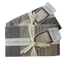 West Elm Coastal Stripe Cotton Linen Euro Shams - Dark Iris Set of 2