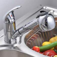 Pull-Out Spray Silver Single Lever Swivel Spout Kitchen Faucet Sink Mixer Tap