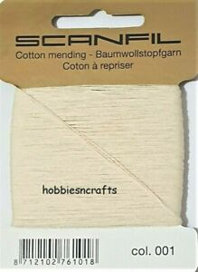 CREAM Scanfil 100% COTTON Thread for Hand Sewing Darning & Mending 15 Metres