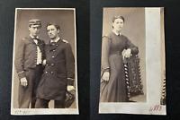 Jeunes étudiants, 1865 Vintage albumen print CDV. Tirage albuminé  6,5x1