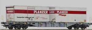 Wagon Porte-containers 'Sgns' de la SBB avec 2 containers blancs 1/87 - neuf