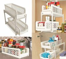 2 Tier Portable Storage Containers Drawers Bathroom kitchen space saving Baskets