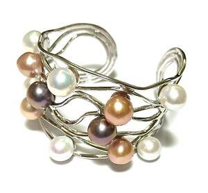 "Marvelous Edison Cultured Round Multi Colors Cultured 12 pcs Pearls 6-8"" Bangle"